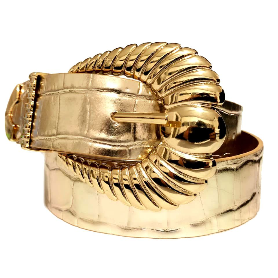 Cinto de Couro Croco Dourado Suave com fivela e ponteira dourada - 3,5 - cm - Cintos Exclusivos - Feminino