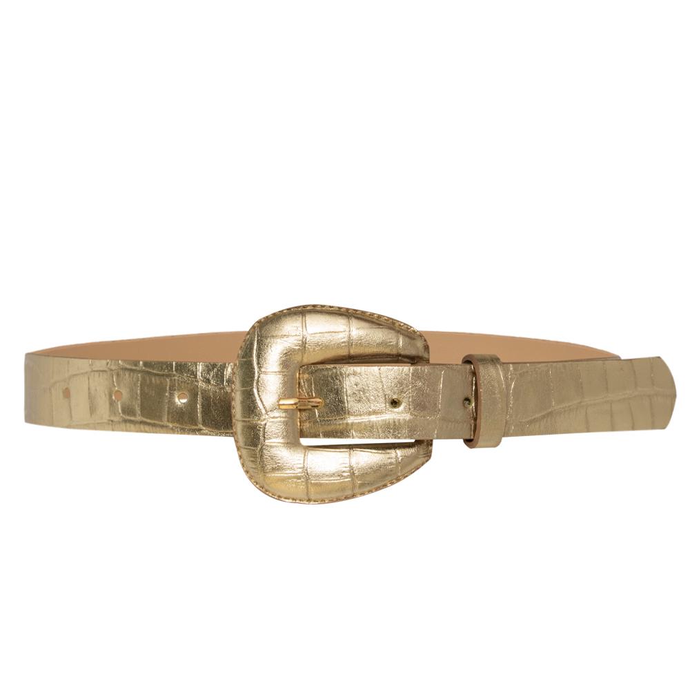 Cinto de Couro Croco Dourado com fivela encapada - 2,5 - cm - Cintos Exclusivos - Feminino
