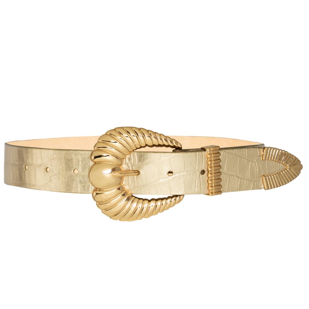 Cinto de Couro Croco Dourado Suave Concha  com fivela e ponteira dourada - 3,5 - cm - Cintos Exclusivos - Feminino