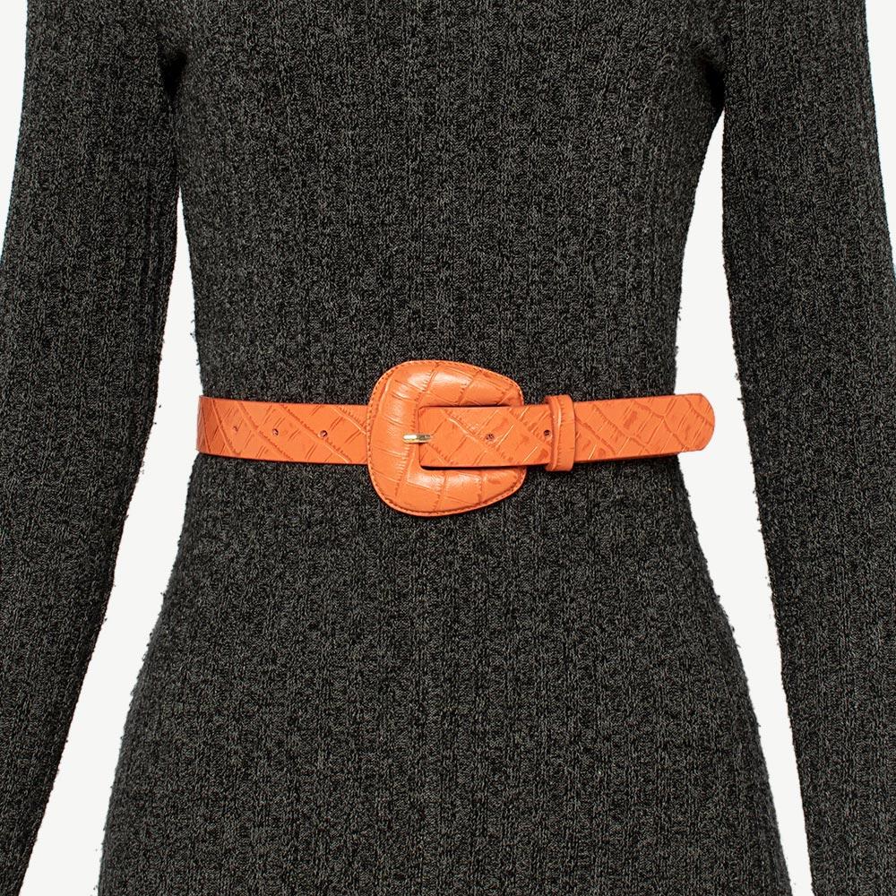 Cinto de Couro Croco Laranja com fivela encapada - 2,5 - cm - Cintos Exclusivos - Feminino