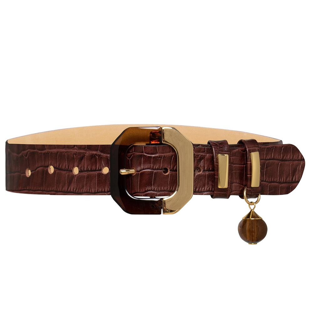 Cinto de Couro Croco Marrom com fivela trabalhada em acrílico  - 4 - cm - Cintos Exclusivos VC- Feminino
