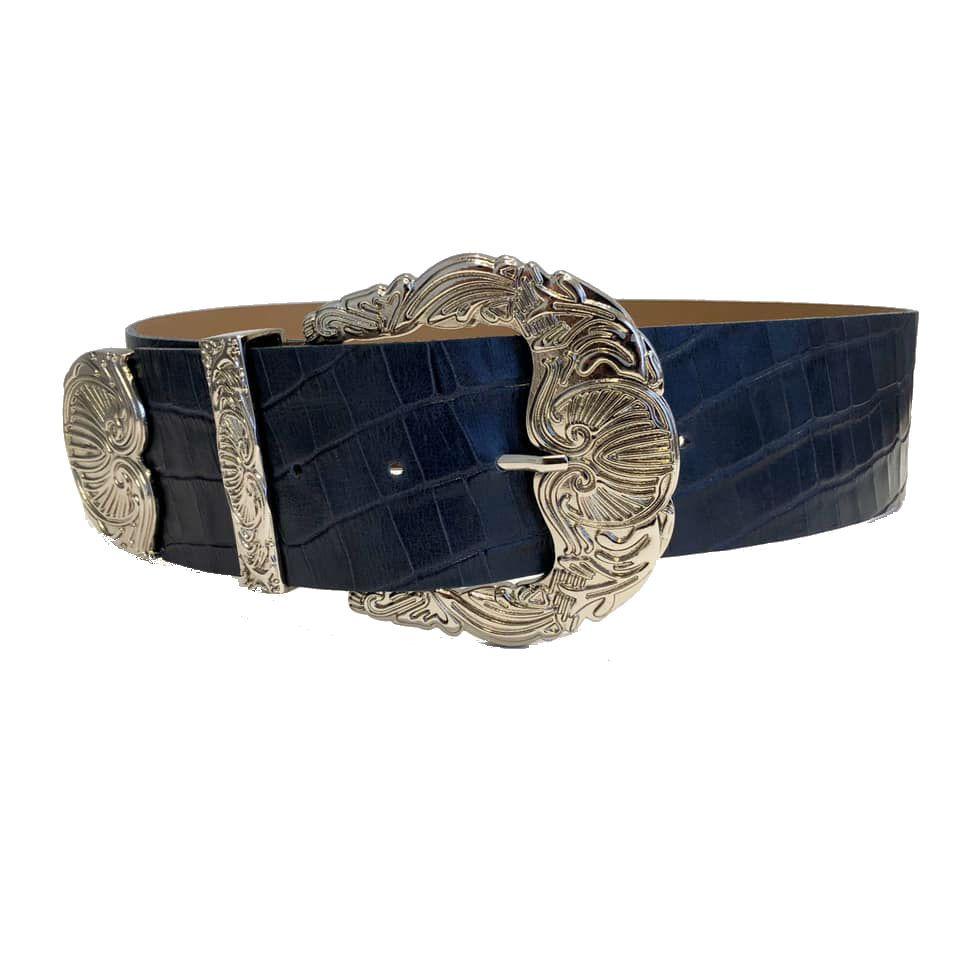 Cinto de Couro Croco Max Azul com fivela e ponteira prata - 6,0 - cm - Cintos Exclusivos - Feminino