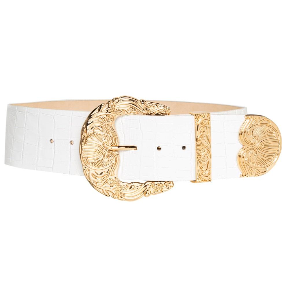 Cinto de Couro Croco Max Largo Branco com fivela e ponteira dourada - 6,0 - cm - Cintos Exclusivos VC - Feminino