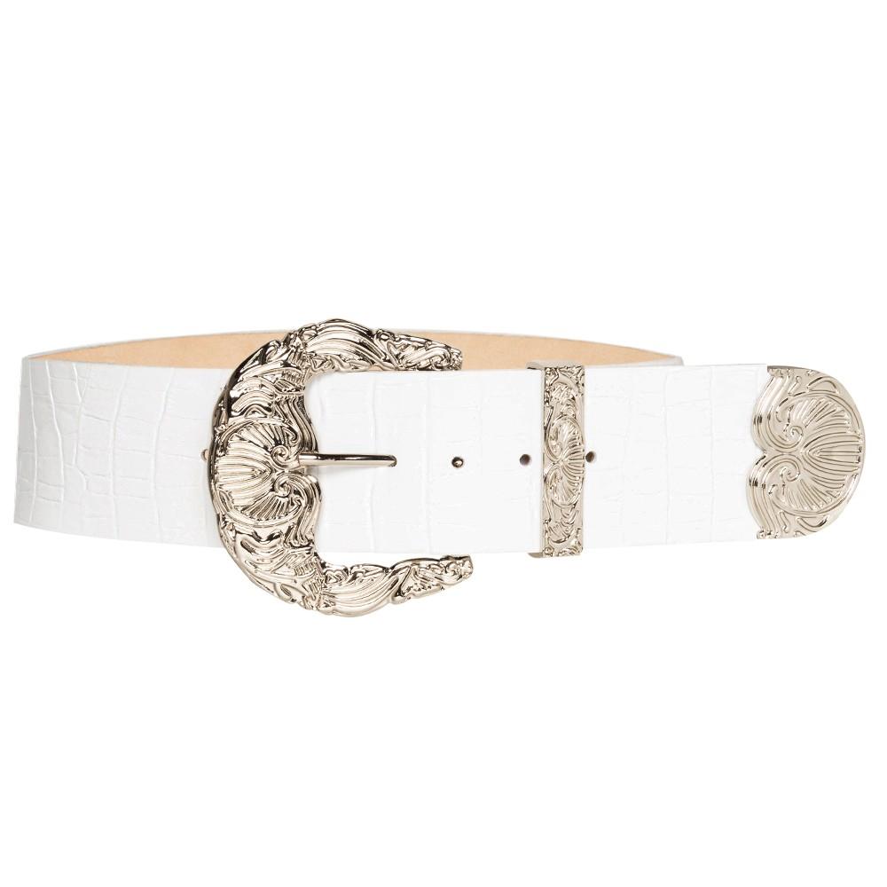 Cinto de Couro Croco Max Branco  com fivela e ponteira prata - 6,0 - cm - Cintos Exclusivos - Feminino