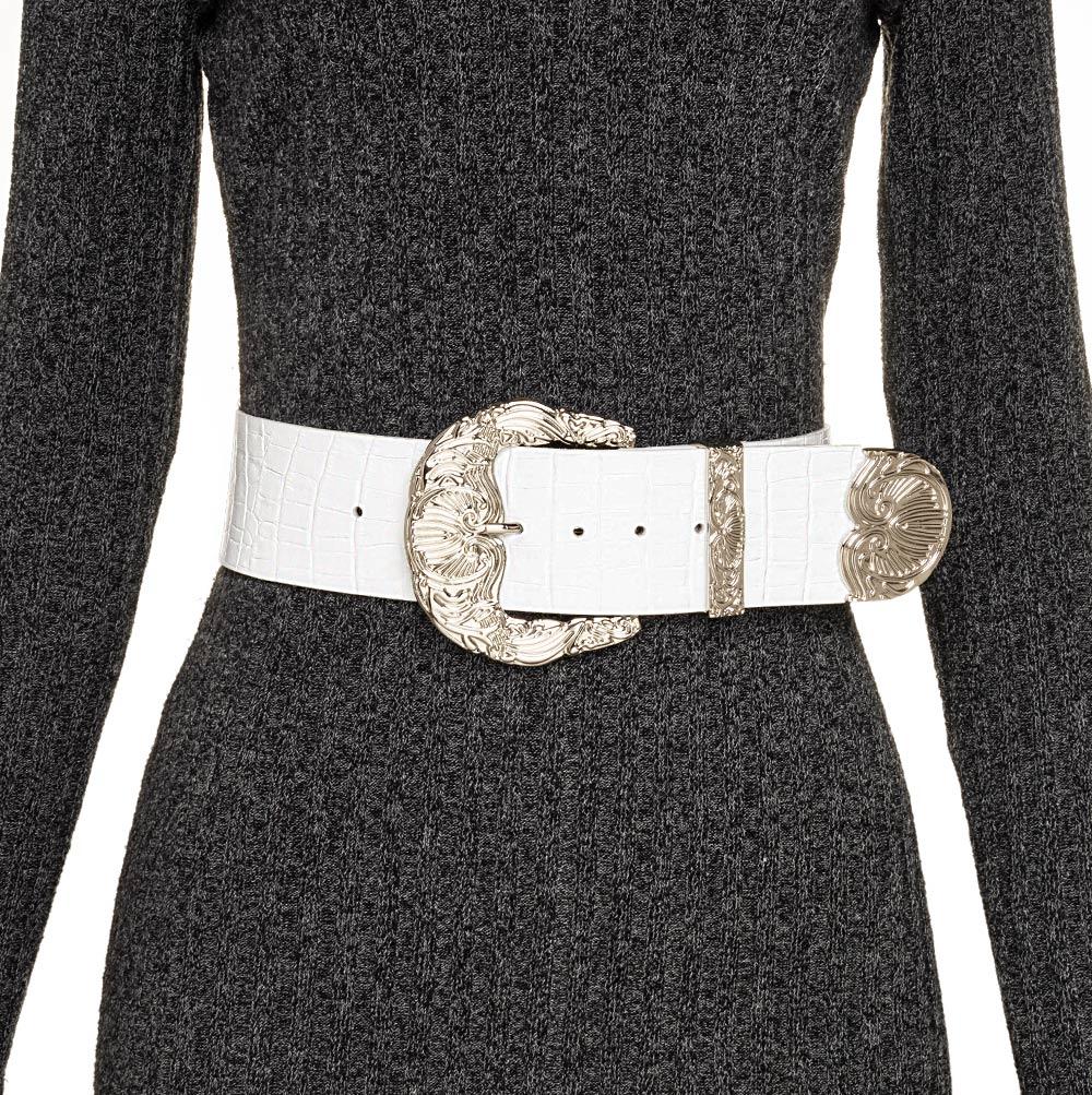 Cinto de Couro Croco Max Largo Branco  com fivela e ponteira prata - 6,0 - cm - Cintos Exclusivos - Feminino