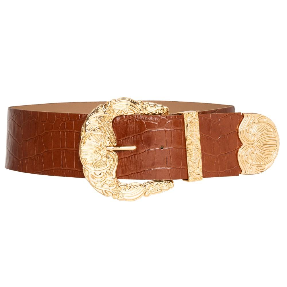 Cinto de Couro Croco Max Caramelo com fivela e ponteira dourada - 6,0 - cm - Cintos Exclusivos - Feminino