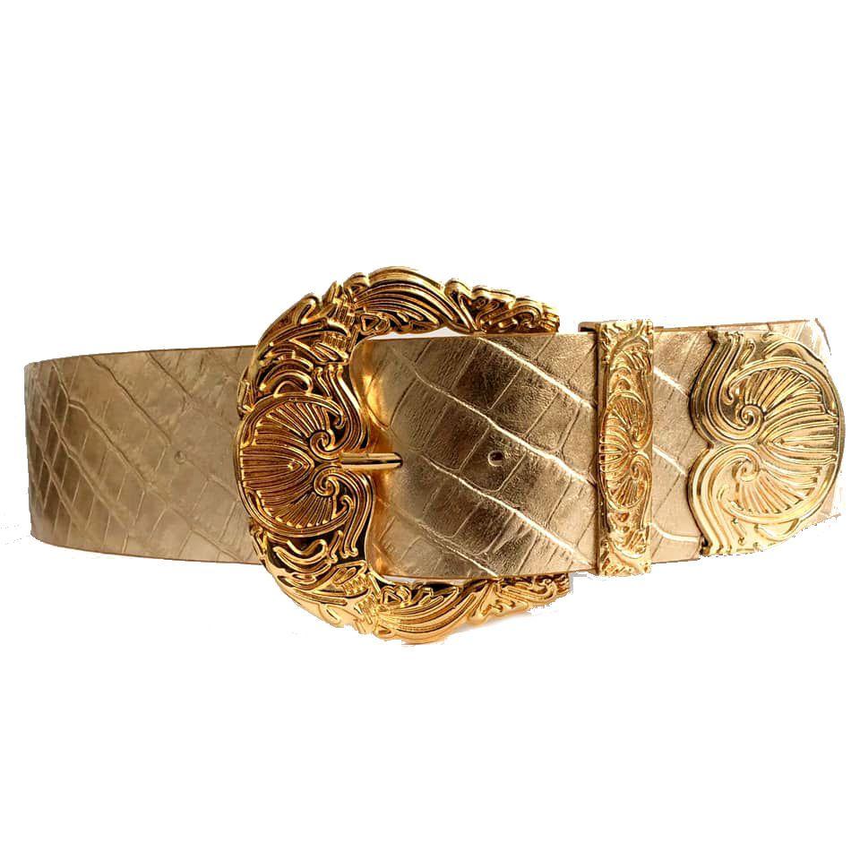 Cinto de Couro Croco Max Dourado Metalizado com fivela e ponteira dourada - 6,0 - cm - Cintos Exclusivos - Feminino