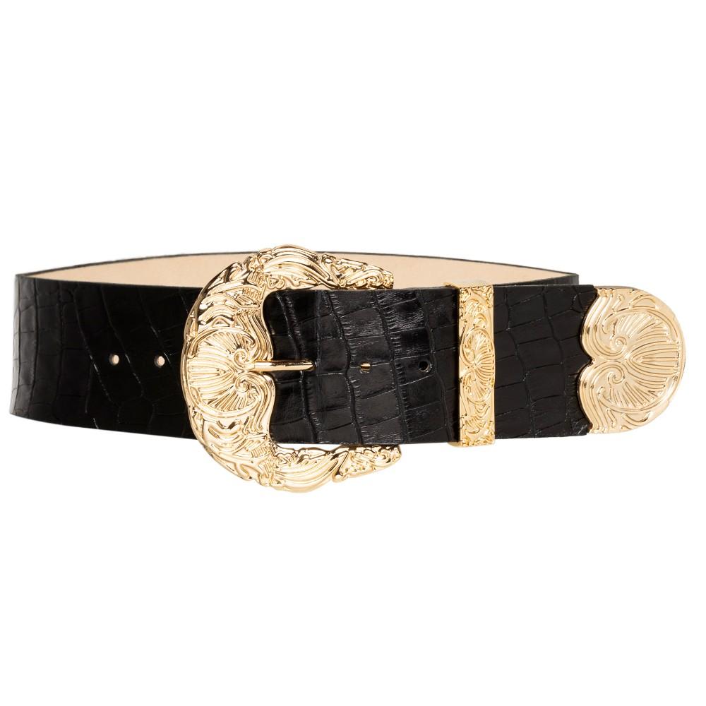 Cinto de Couro Croco Max Largo Preto com fivela e ponteira dourada - 6,0 - cm - Cintos Exclusivos VC - Feminino