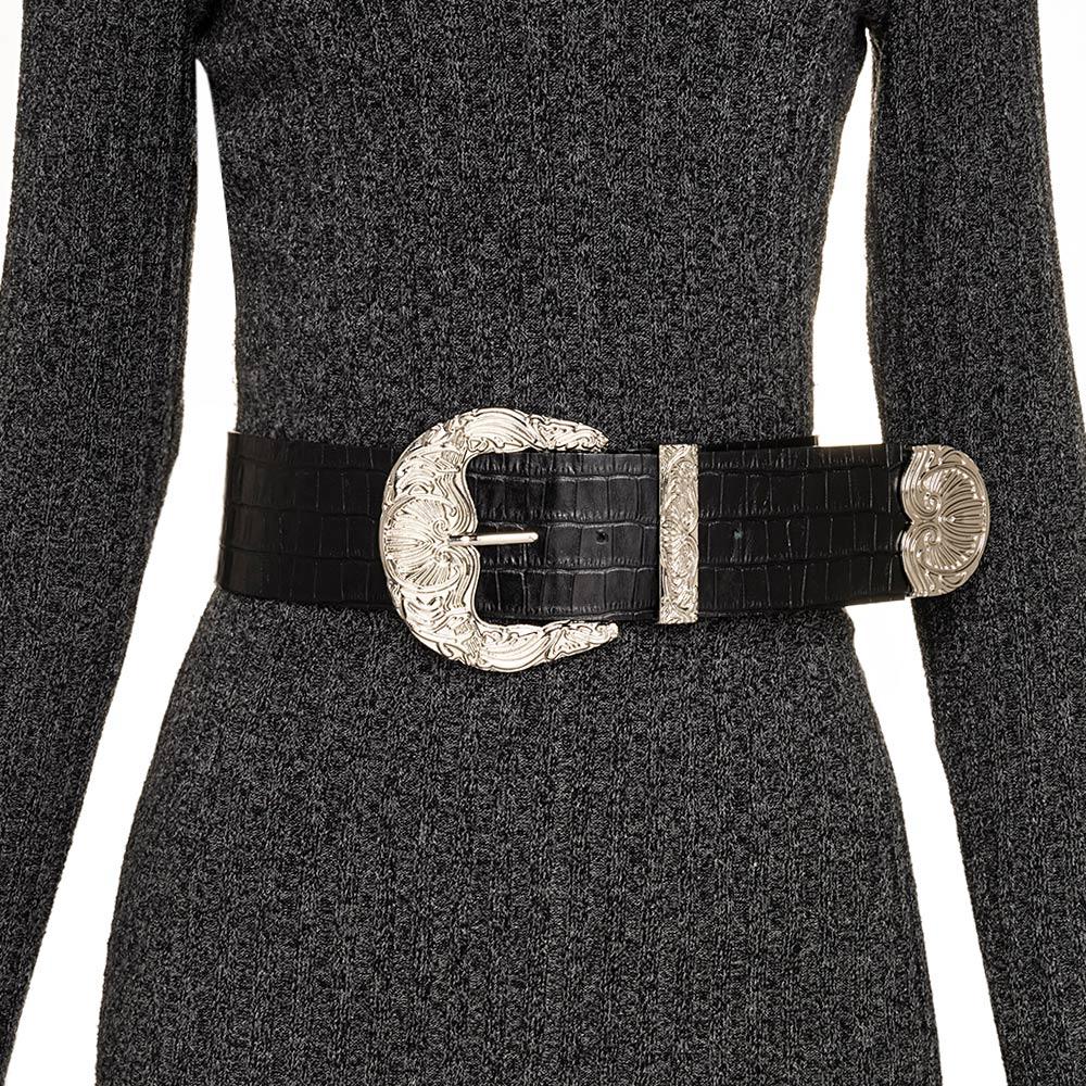 Cinto de Couro Croco Max Largo Preto com fivela e ponteira prata - 6,0 - cm - Cintos Exclusivos VC- Feminino