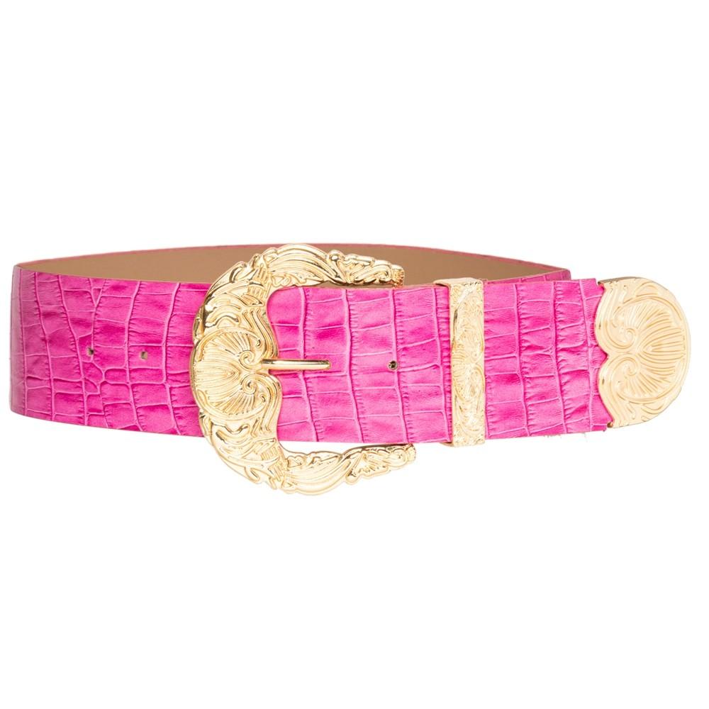 Cinto de Couro Croco Max Rosa com fivela e ponteira dourada - 6,0 - cm - Cintos Exclusivos - Feminino