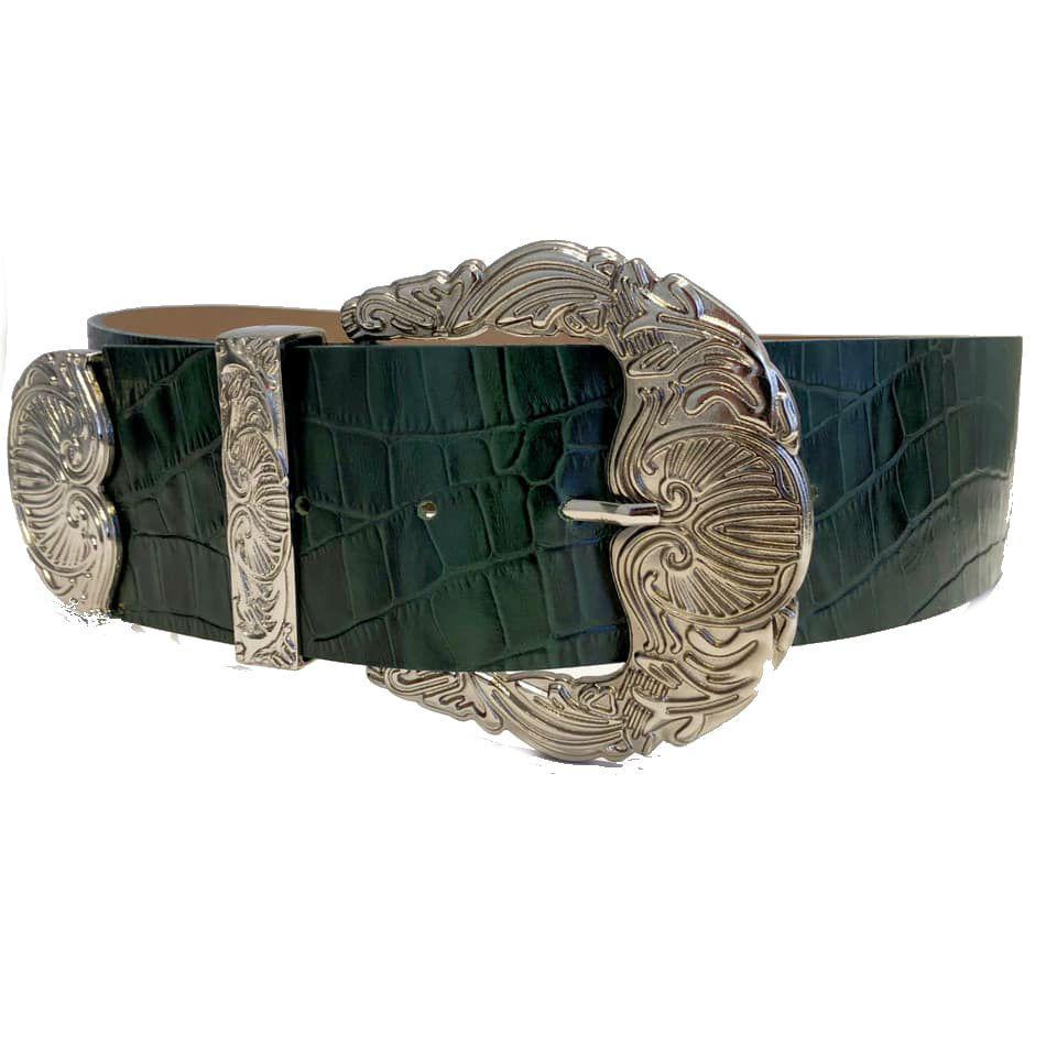 Cinto de Couro Croco Max Verde com fivela e ponteira prata - 6,0 - cm - Cintos Exclusivos - Feminino