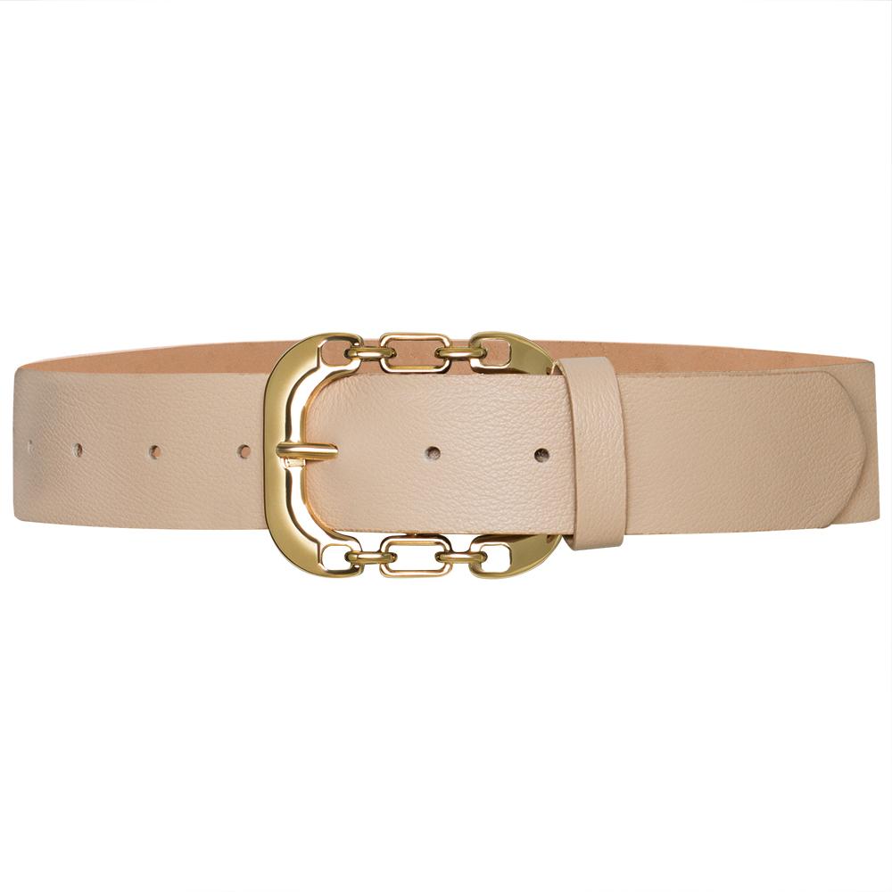 Cinto  de Couro Croco Nude  com Fivela Dourada   - 4 cm - Linha Premium VC - Feminino