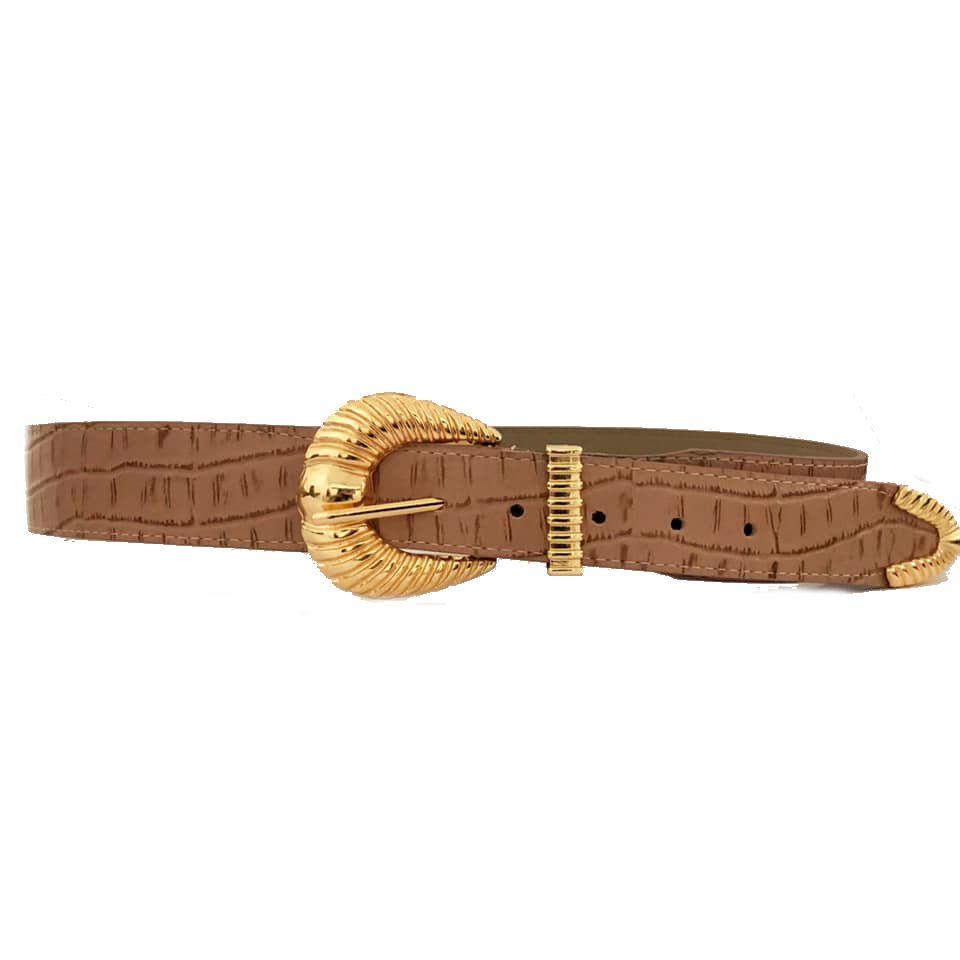 Cinto de Couro Croco Nude com fivela e ponteira dourada - 4,5 - cm - Cintos Exclusivos - Feminino