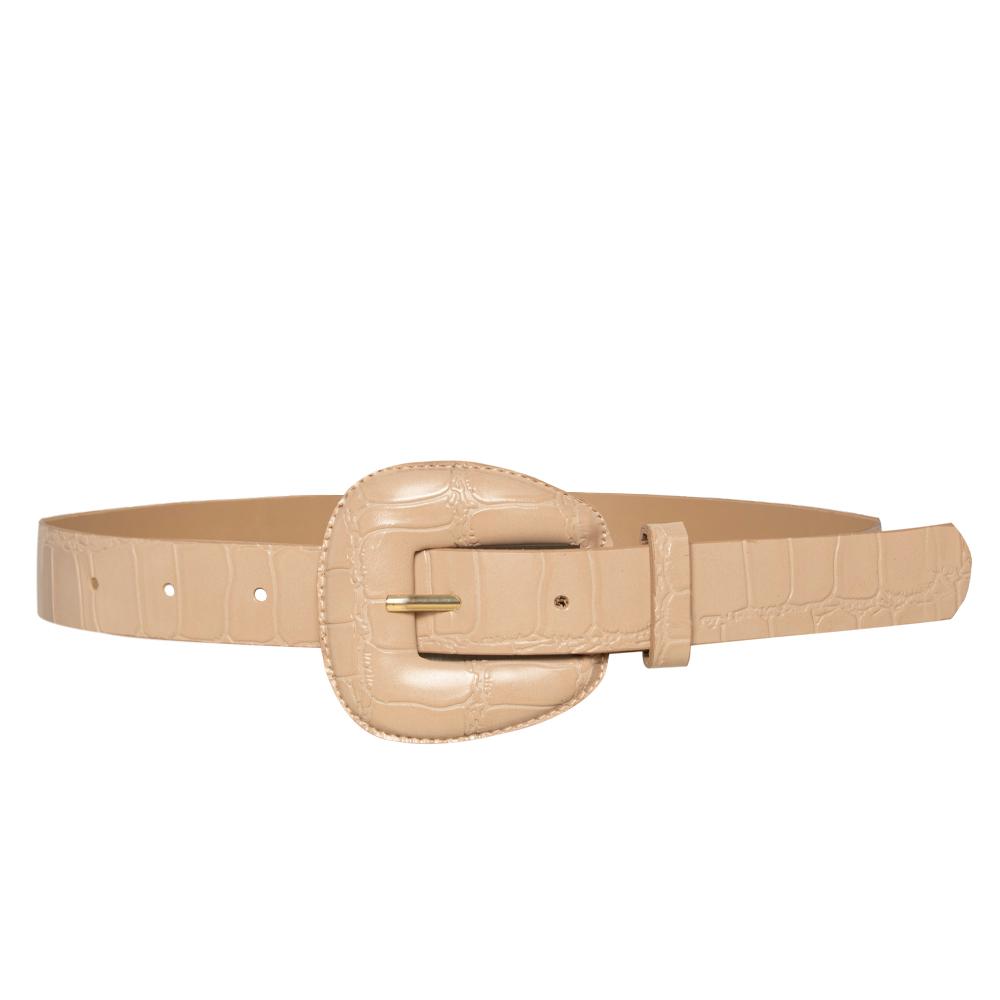 Cinto de Couro Croco Nude com fivela encapada - 2,5 - cm - Cintos Exclusivos - Feminino