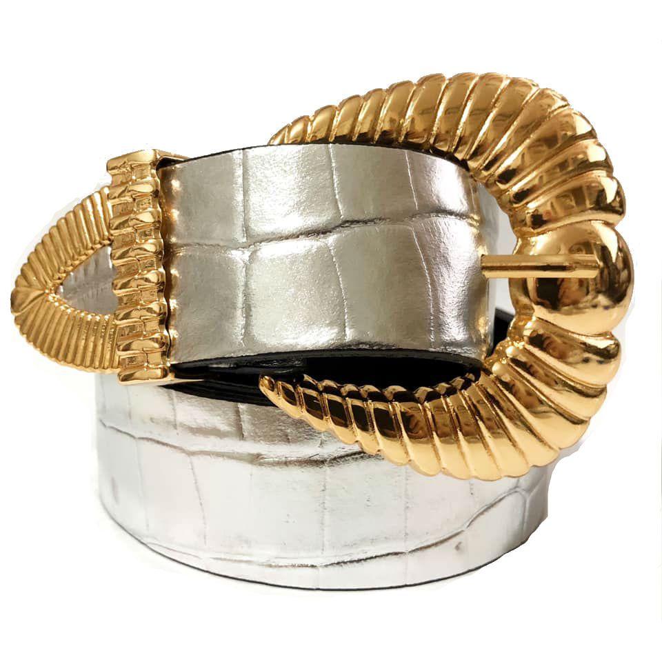 Cinto de Couro Croco Prata e Dourado  com Fivela e Ponteira   - 3,5 - cm - Cintos Exclusivos - Feminino