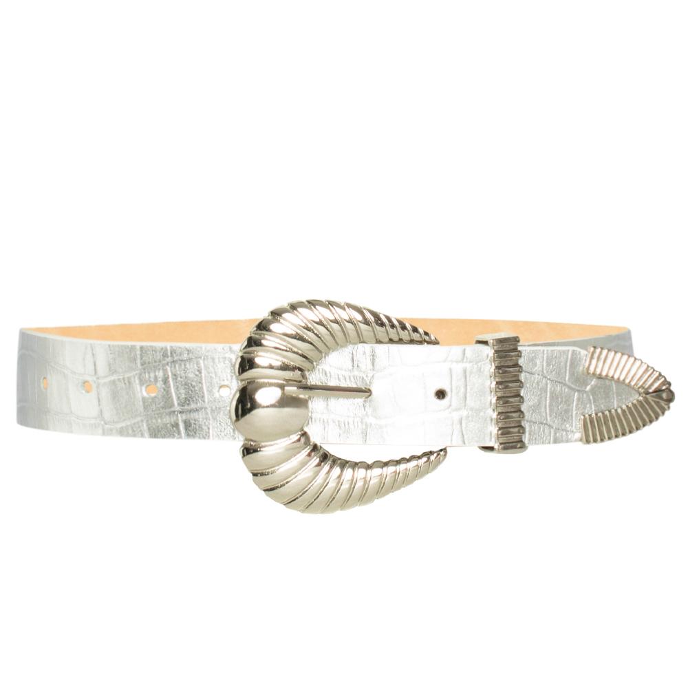 Cinto de Couro Croco Prata com fivela concha e ponteira Prata - 3,5 - cm - Linha Premium VC- Feminino
