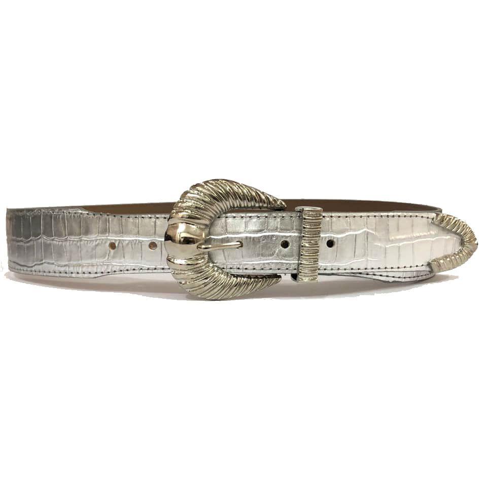 Cinto de Couro Croco Prata com fivela e ponteira Prata - 4,5 - cm - Cintos Exclusivos - Feminino