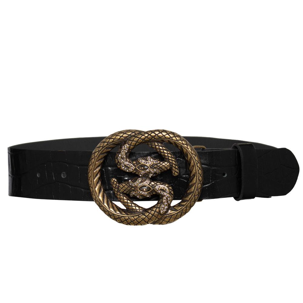 Edição Limitada - Cinto de Couro Croco Preto com Fivela Cobra Ouro Velho  - 4 cm - Linha Premium VC
