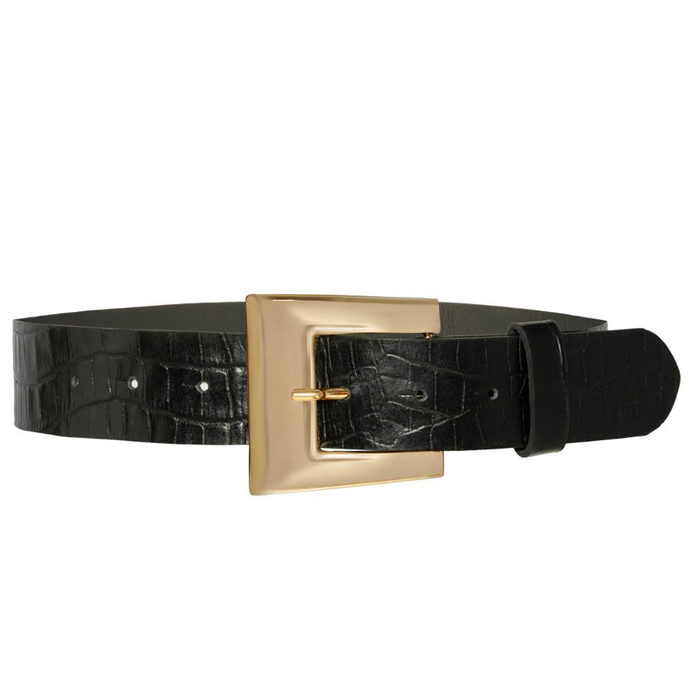 Cinto de Couro Croco Preto com Fivela Dourada  - 4 cm - Feminino -   Linha Premium VC