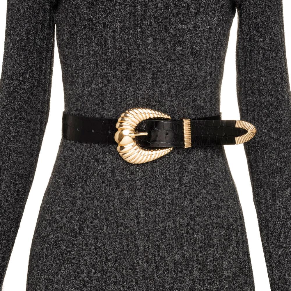 Cinto de Couro Croco  Preto com fivela concha e ponteira dourada  - 3,5 - cm - Cintos Exclusivos VC - Feminino
