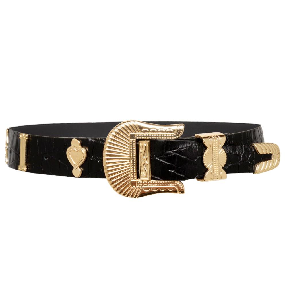 Cinto de Couro Croco  Preto com fivela e ponteira dourada  - 3,5 - cm - Cintos Exclusivos - Feminino