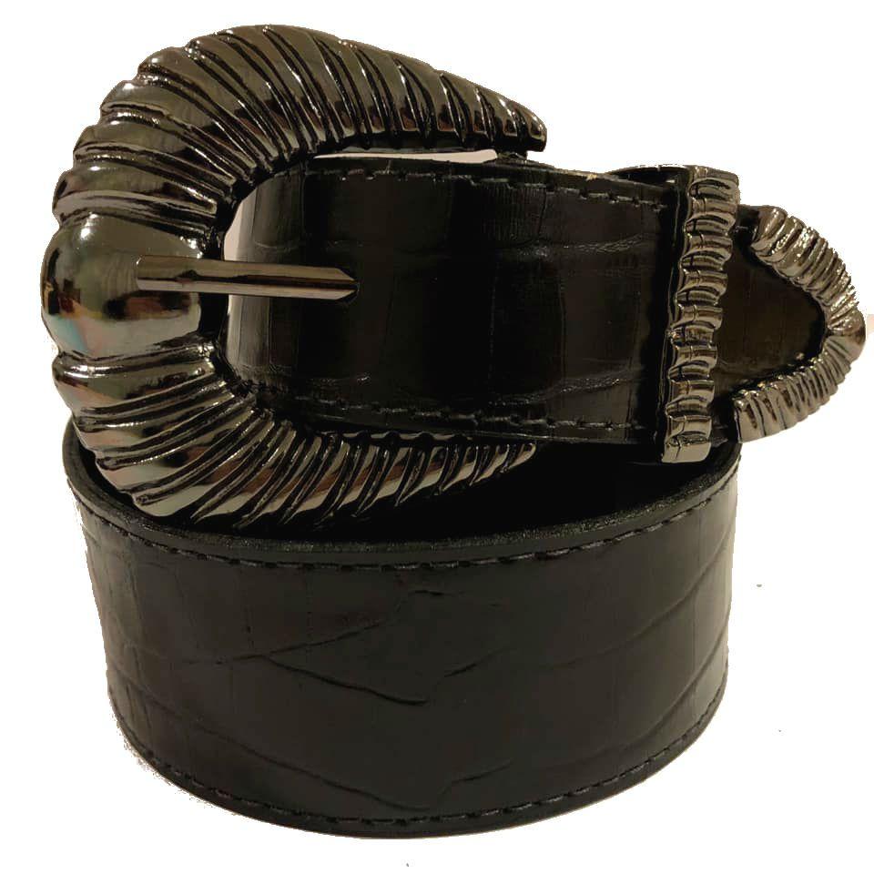 -  Cinto de Couro Croco Preto com fivela e ponteira ônix - 4,5 - cm - Cintos Exclusivos - Feminino