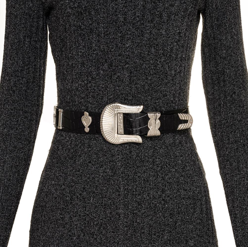 Cinto de Couro Croco  Preto com fivela e ponteira Prata  - 3,5 - cm - Cintos Exclusivos - Feminino