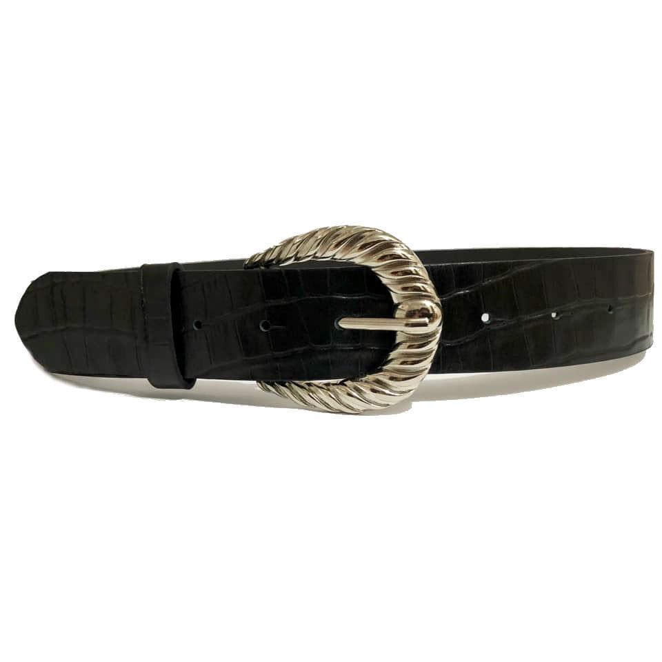 Cinto de Couro Croco Preto com Fivela Prata Arabesco  - 4 cm - Cintos Exclusivos - Feminino