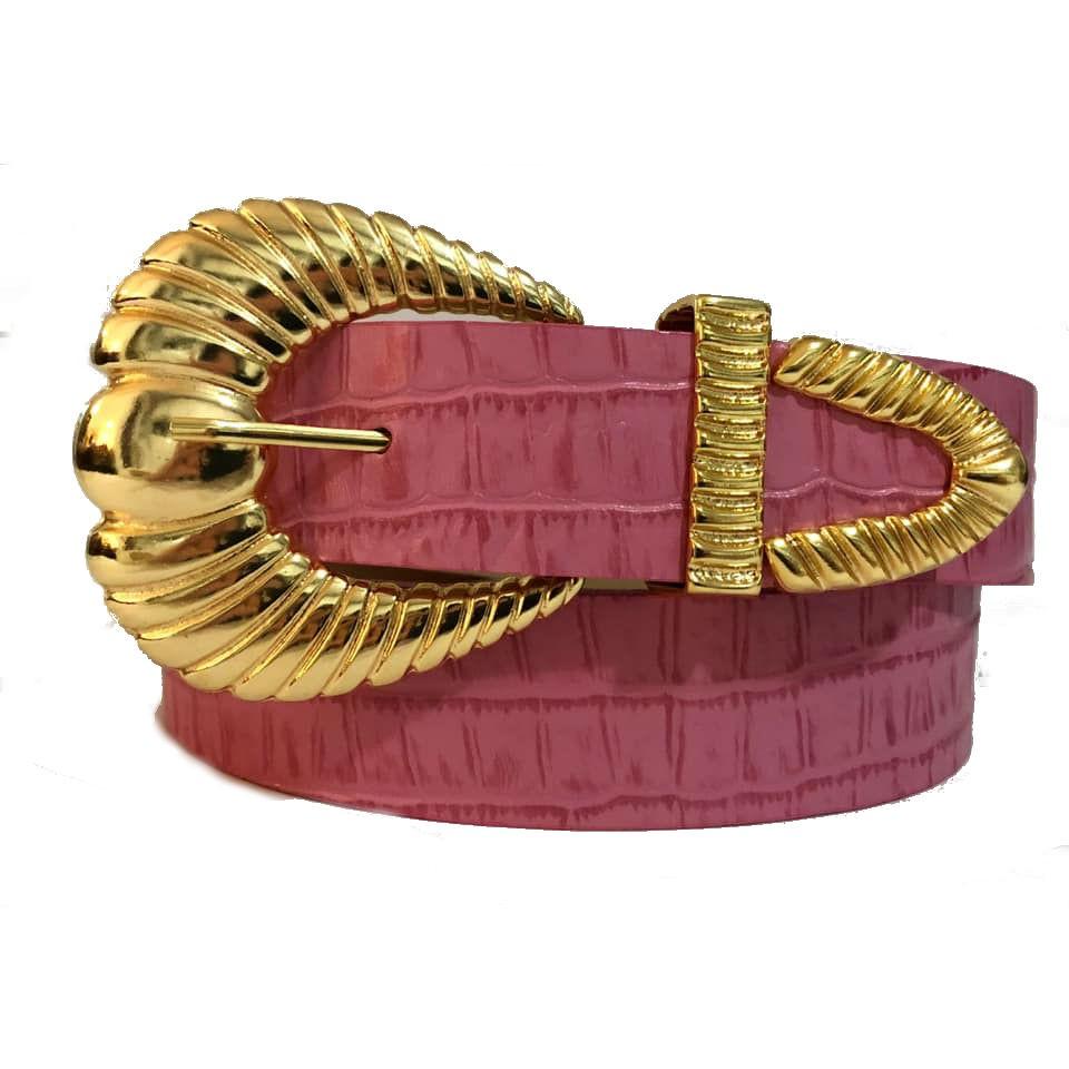 Cinto de Couro Croco Rosa Chiclete com fivela e ponteira dourada - 3,5 - cm - Cintos Exclusivos - Feminino