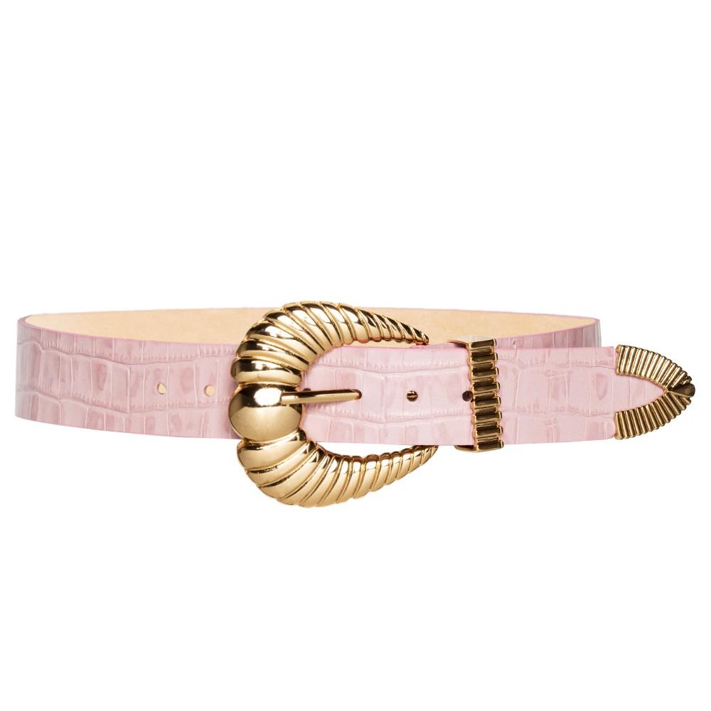 Cinto de Couro Croco Rosa Claro com fivela concha e ponteira dourada - 3,5 - cm - Cintos Exclusivos VC- Feminino