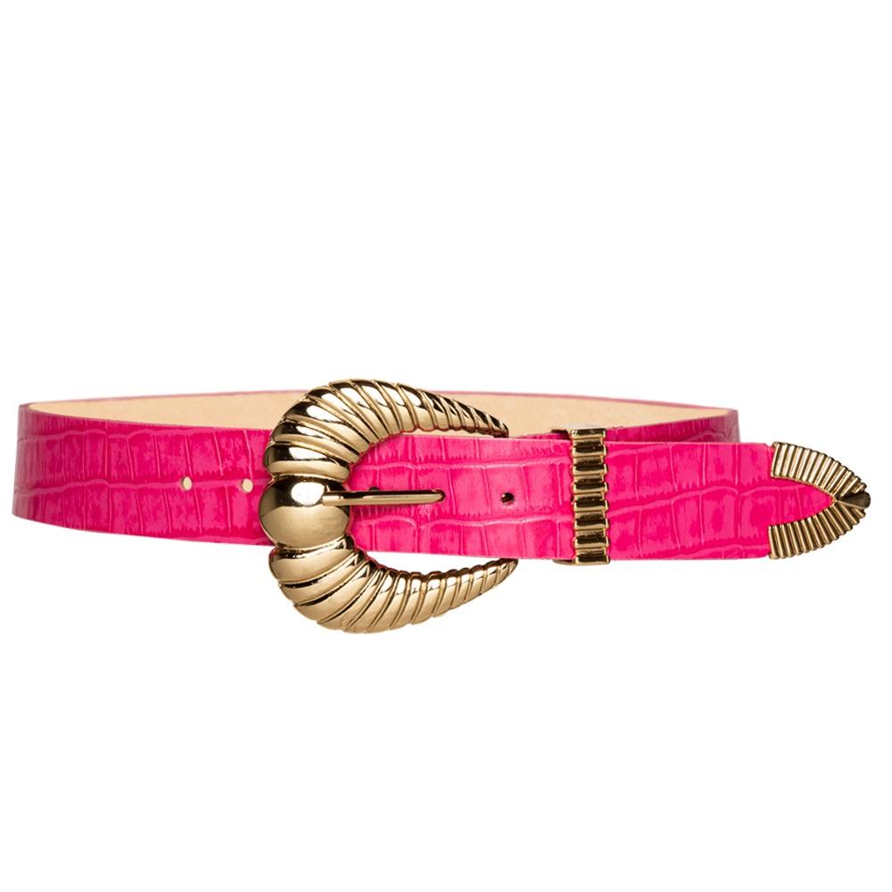 Cinto de Couro Croco Rosa Pink com fivela concha e ponteira dourada - 3,5 - cm - Linha Premium VC - Feminino