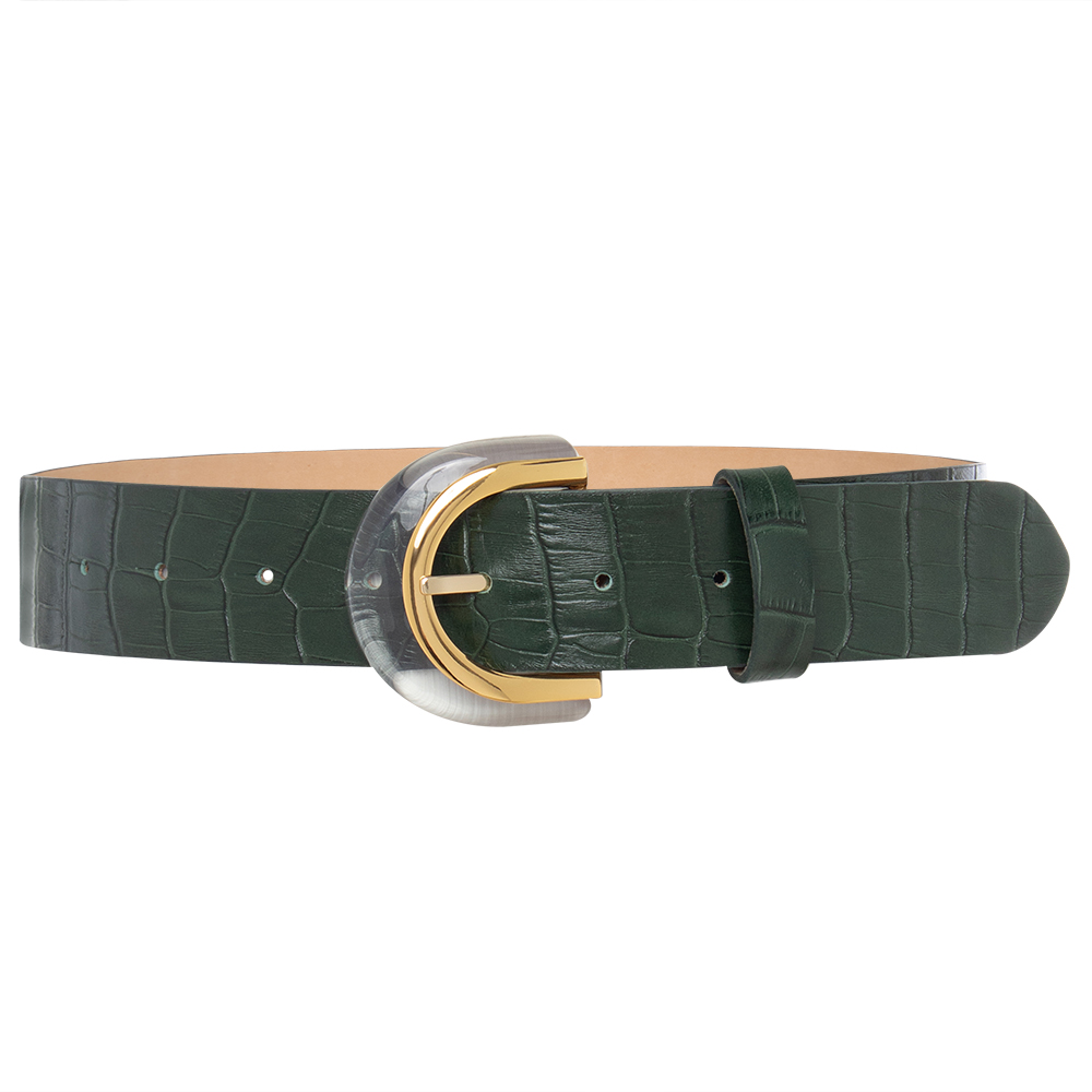 Cinto de Couro Croco Verde  com Fivela de Acrílico  - 4 cm - Linha Premium VC - Feminino