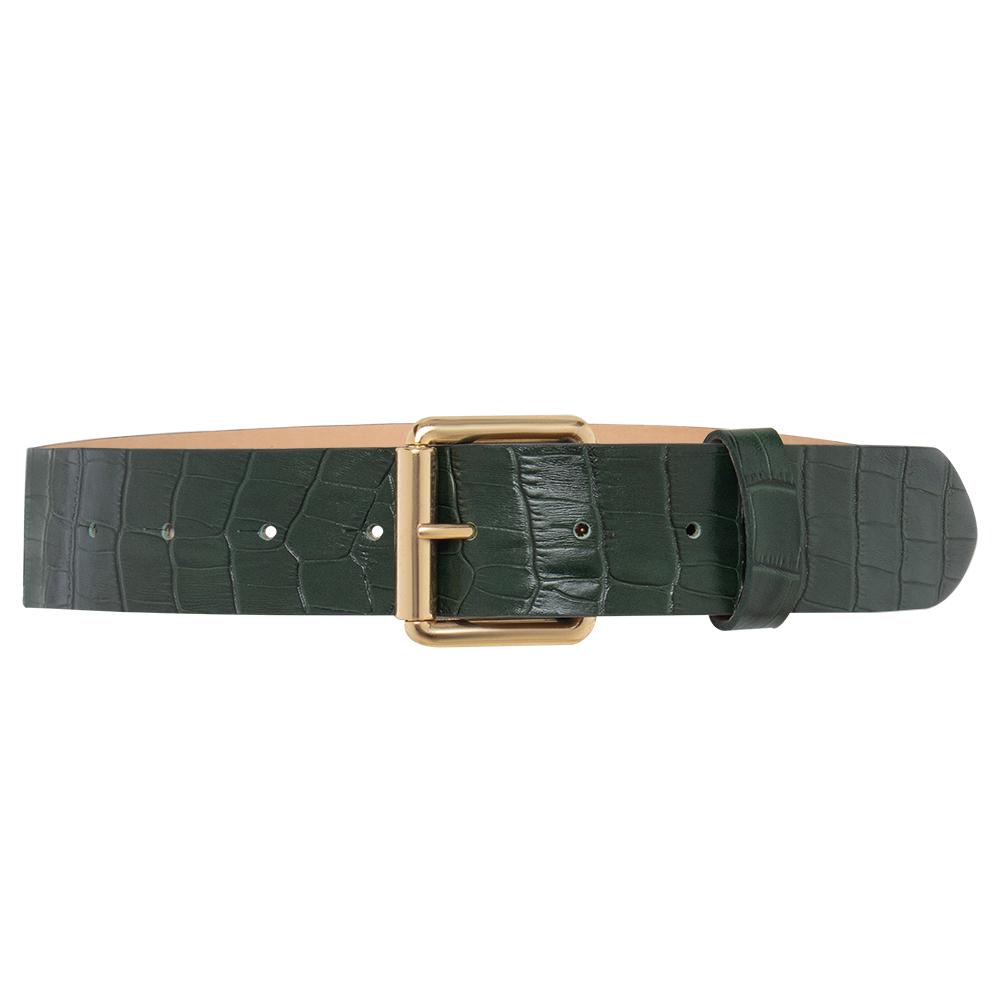 Cinto de Couro  Croco Verde  com Fivela Dourada - 4 cm - Linha Premium VC - Feminino