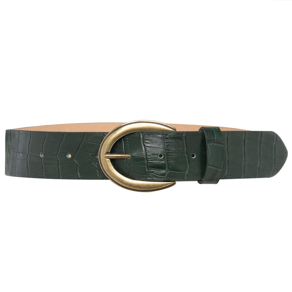 Cinto de Couro  Croco Verde  com Fivela Ouro Velho - 4 cm - Linha Premium VC - Feminino