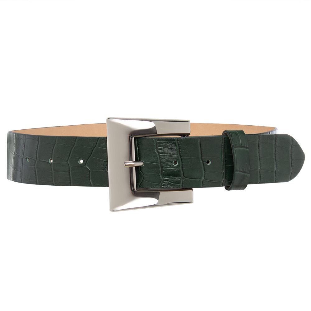 Cinto de Couro  Croco Verde  com Fivela Prata  - 4 cm - Linha Premium VC - Feminino