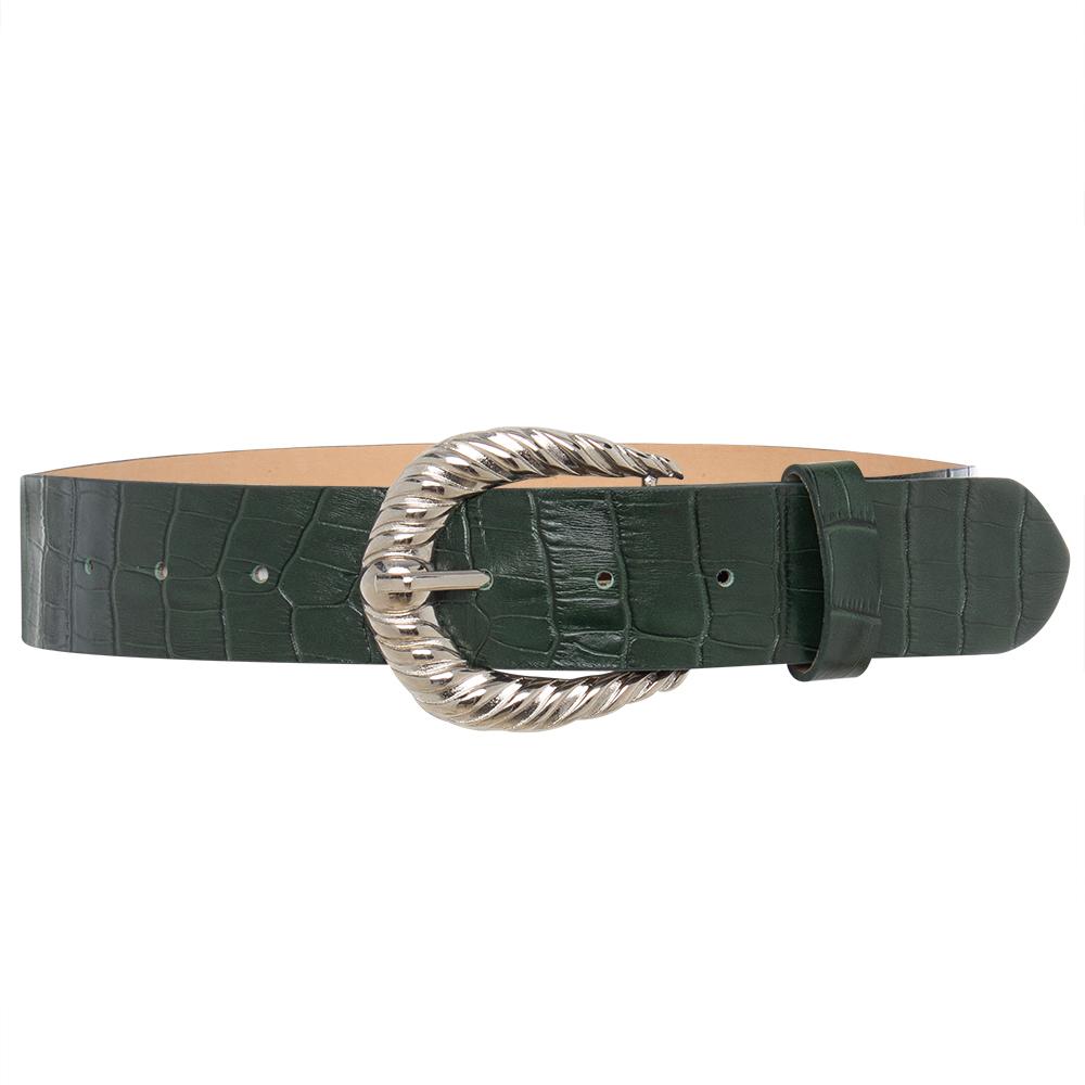 Cinto de Couro  Croco Verde  com Fivela Prata Arabesco  - 4 cm - Linha Premium VC - Feminino
