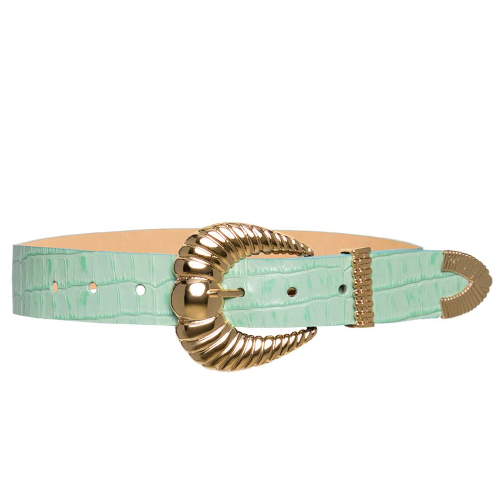 Cinto de Couro Croco Verde menta  com fivela concha e ponteira dourada - 3,5 - cm - Linha Premium VC - Feminino