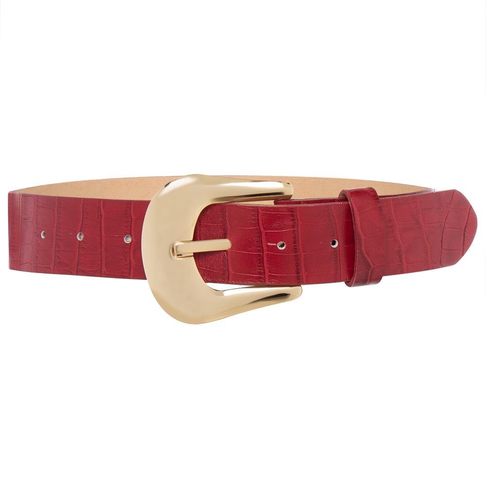 Cinto de Couro Croco Vermelho com Fivela Dourada   - 4 cm - Linha Premium VC - Feminino