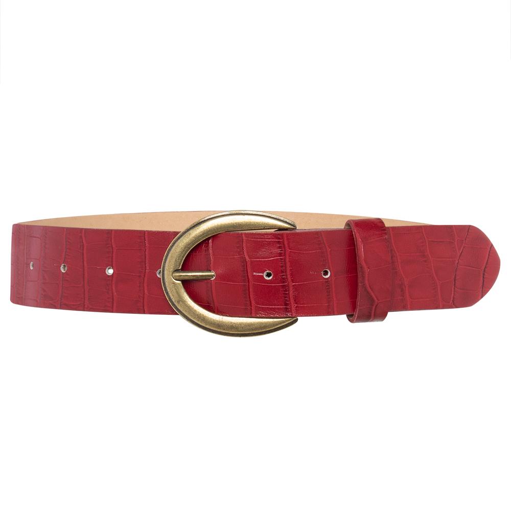 Cinto  de Couro Croco Vermelho com Fivela Ouro Velho   - 4 cm - Linha Premium VC - Feminino