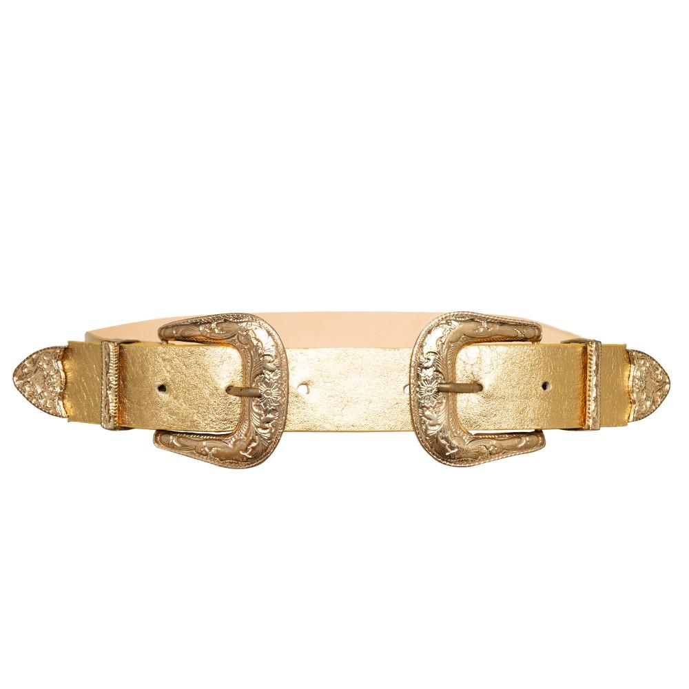 Cinto de Couro Dourado com Duas Fivelas Douradas Western   - 3,5 cm - Cintos Exclusivos - Feminino