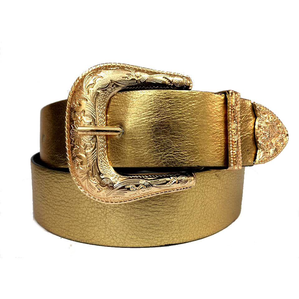 Cinto de Couro Dourado Metalizado com Uma Fivela e Ponteira Dourada Western  - 3,5 cm - Linha Premium VC - Feminino