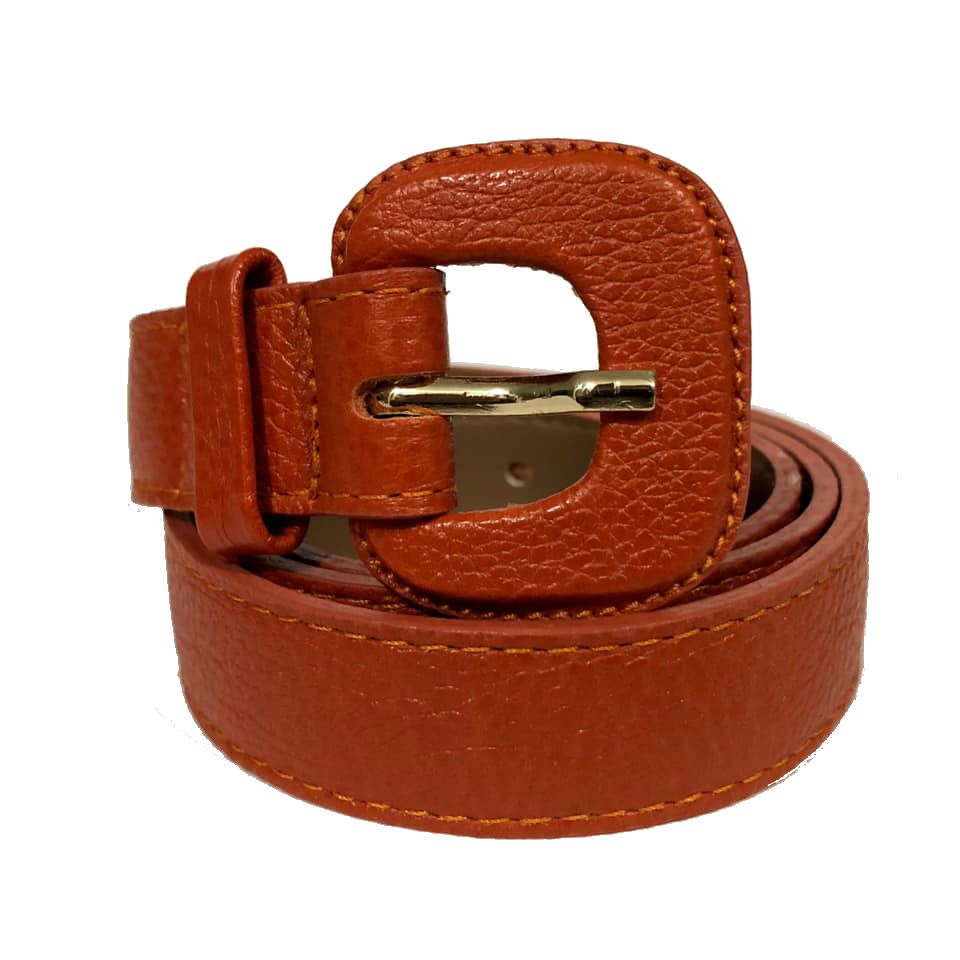 Cinto de Couro Laranja Fino  2,5cm - Cintos Exclusivos - Feminino
