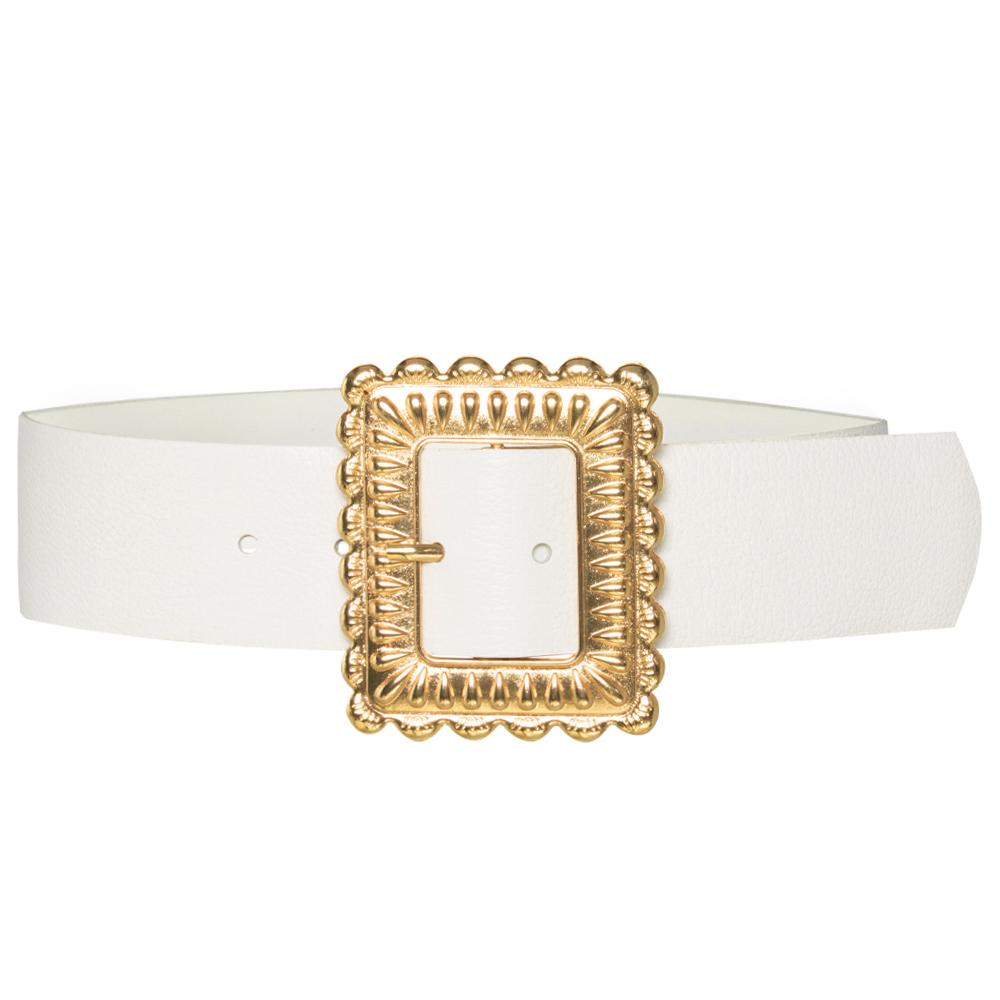 Cinto de Couro  Largo Branco  com fivela dourada - 5,0 - cm - Cintos Exclusivos - Feminino