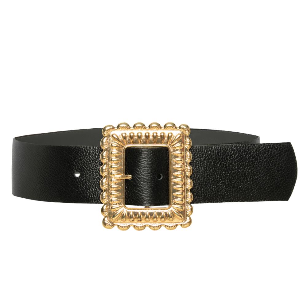 Cinto de Couro  Largo Preto com fivela dourada - 5,0 - cm - Cintos Exclusivos - Feminino
