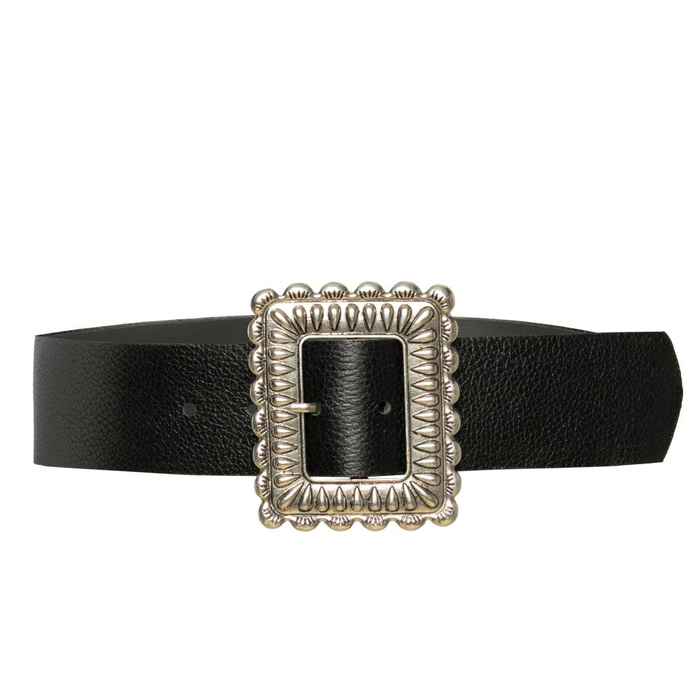 Cinto de Couro  Largo Preto com fivela  prata - 5,0 - cm - Cintos Exclusivos - Feminino