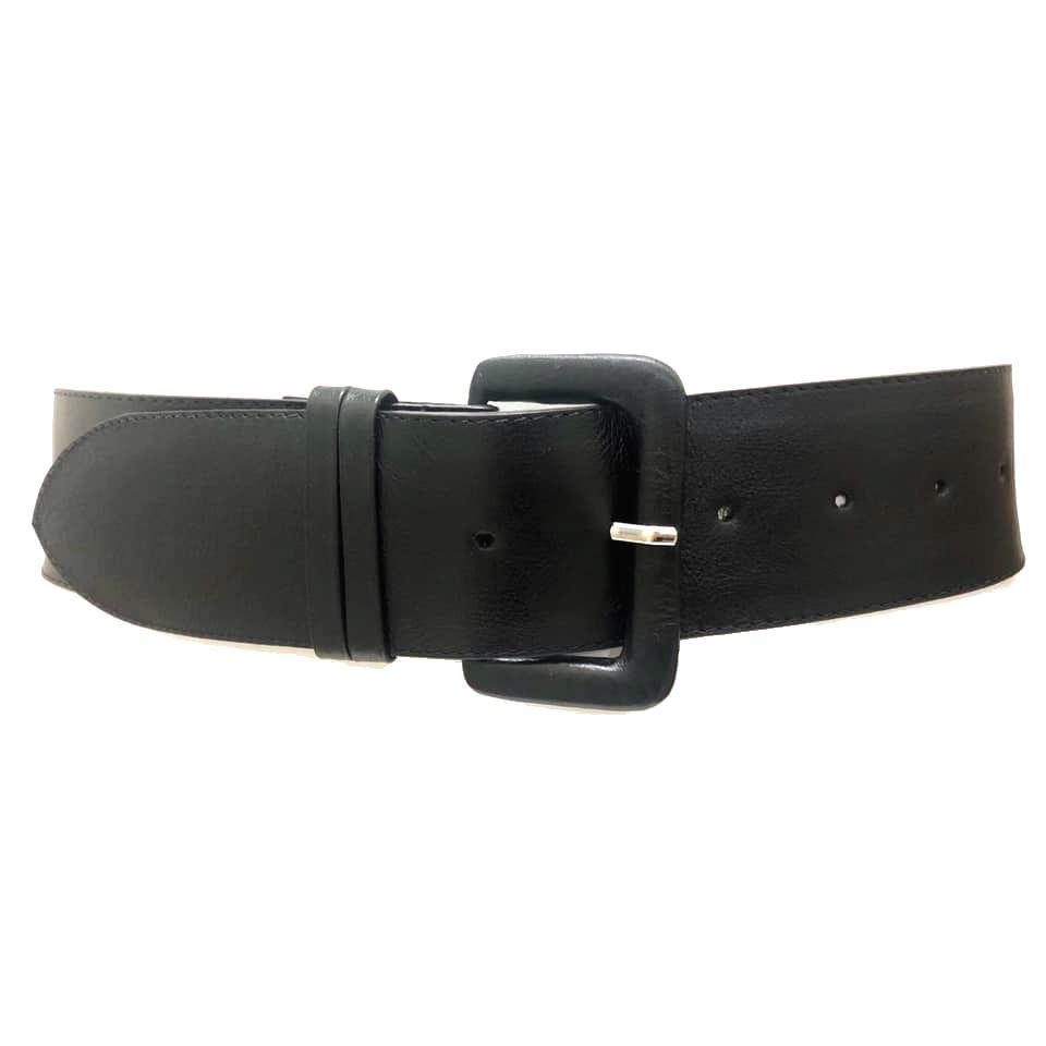 Cinto de Couro Anatômico Preto - 5 cm - Cintos Exclusivos - Feminino