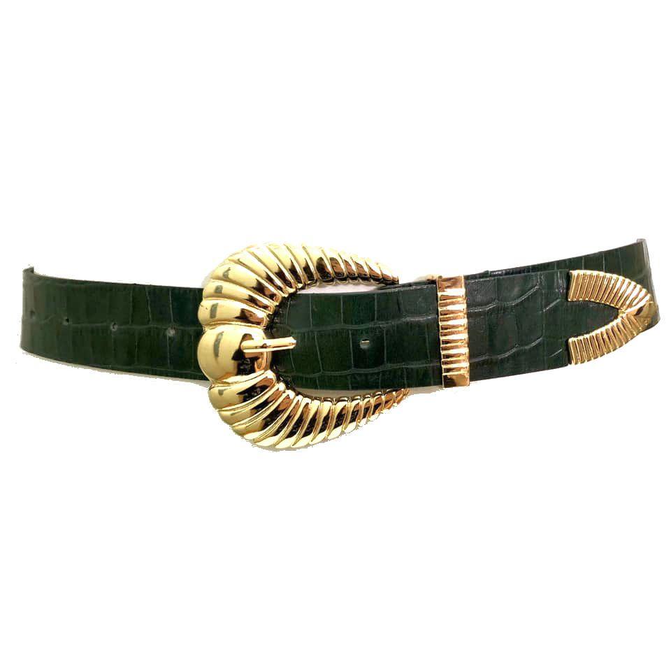 Cinto de Couro Croco  Verde com fivela e ponteira dourada  - 3,5 - cm - Cintos Exclusivos - Feminino