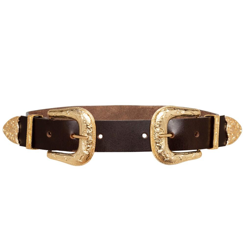 Cinto de Couro Marrom com Duas Fivelas Douradas Western  - 3,5 cm - Cintos Exclusivos - Feminino