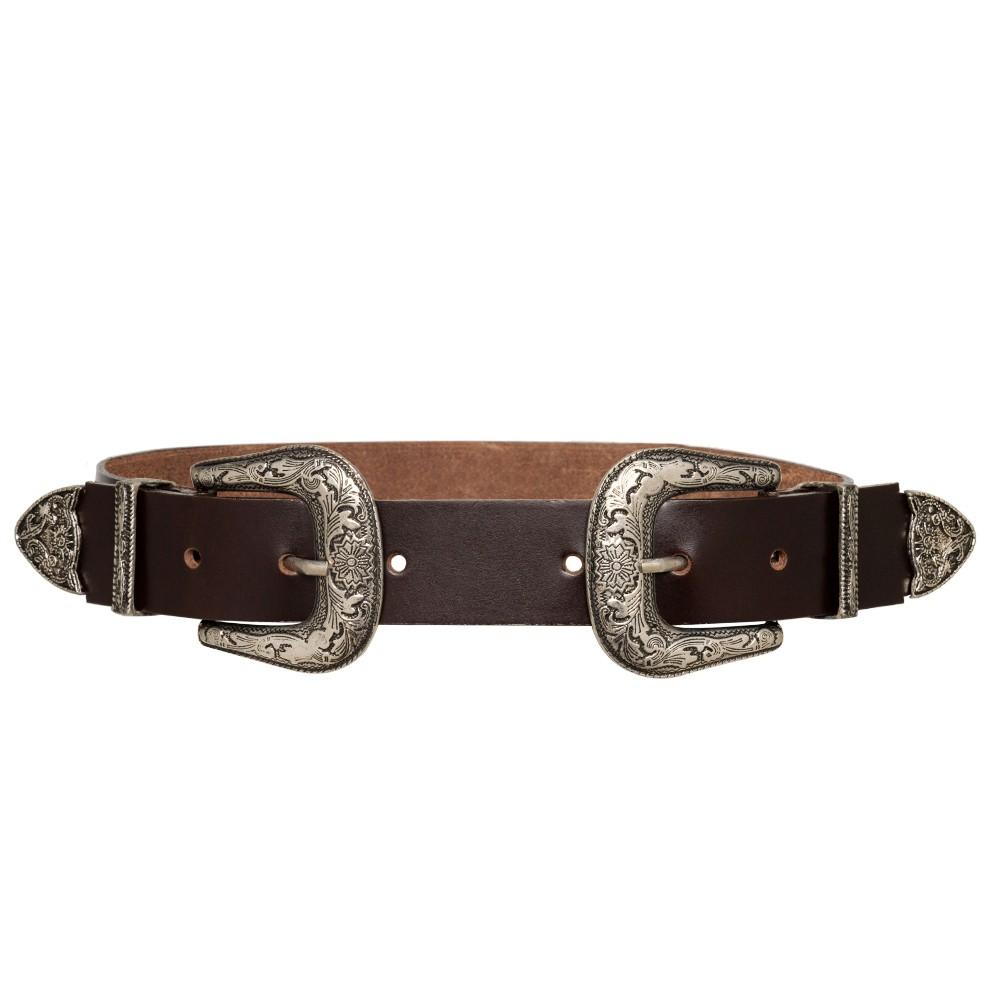 Cinto de Couro  Marrom com Duas Fivelas Pratas Western   - 3,5 cm - Cintos Exclusivos - Feminino