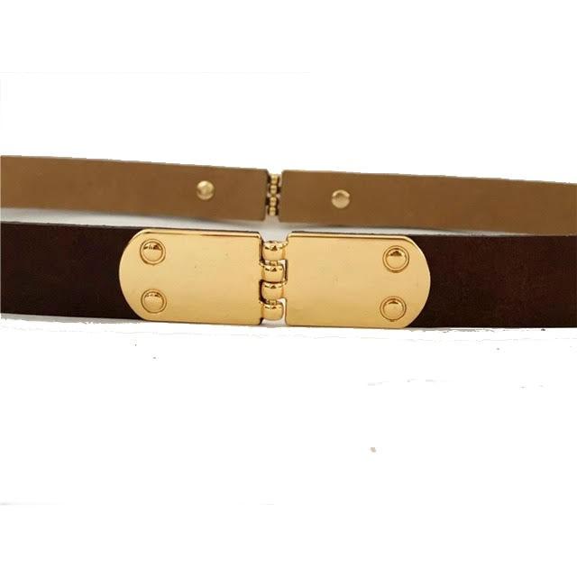 Cinto de Couro Marrom com Fivela  Dourada - 2,5 cm - Cintos Exclusivos - Feminino
